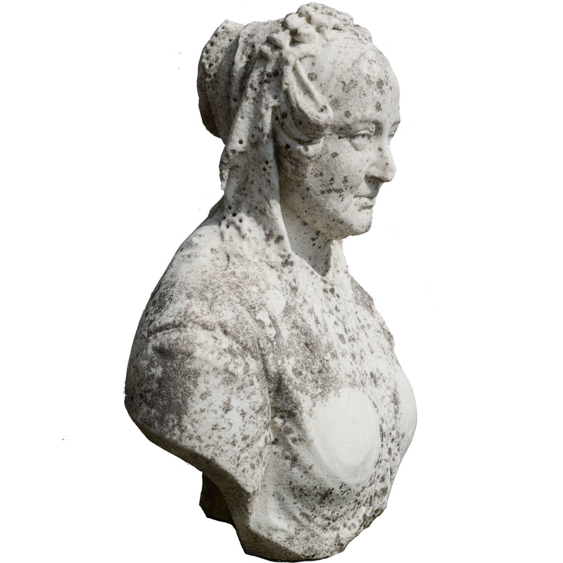 Antique Queen Victoria Bust Carved in Carrara Marble