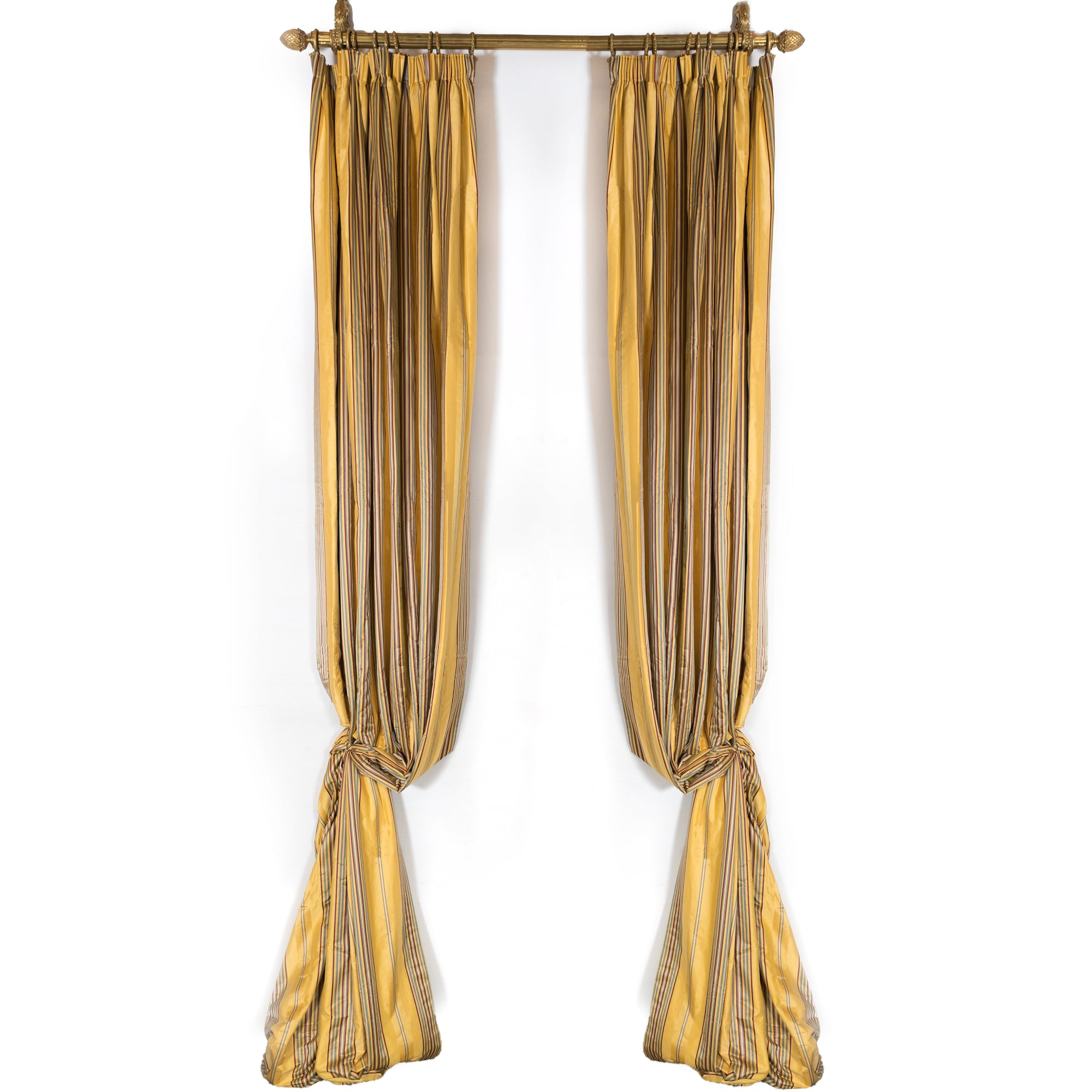 Long Brushed Silk Golden & Striped Curtains