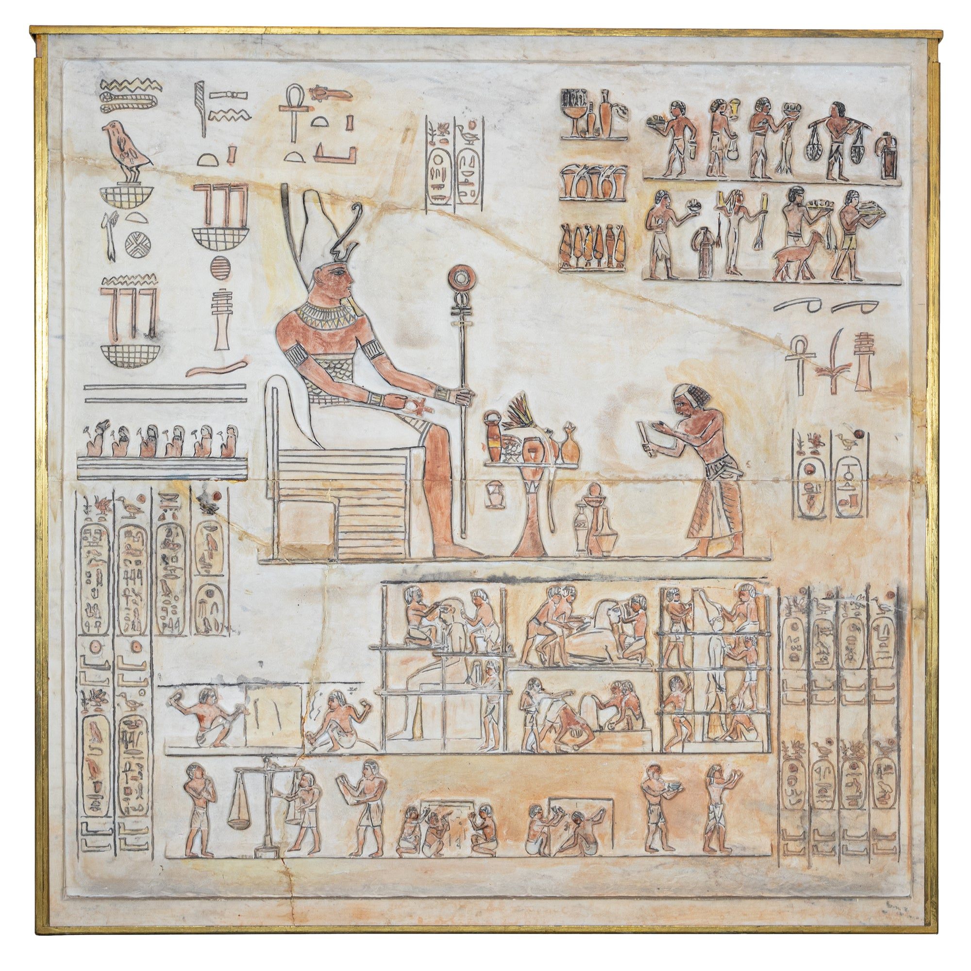 Large Stone Panel with Carved Ancient Egyptian Hieroglyphics
