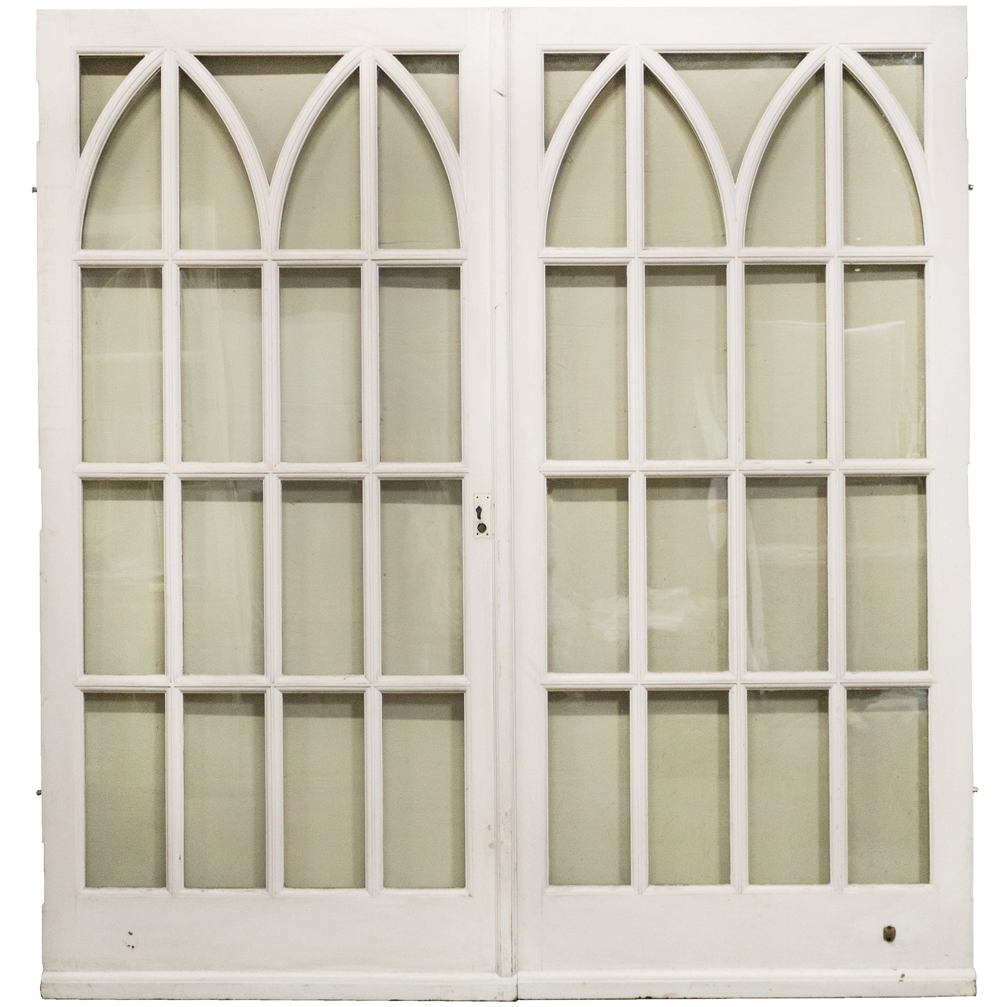 Gothic Style Glazed Mahogany Double Doors (2 pairs available)