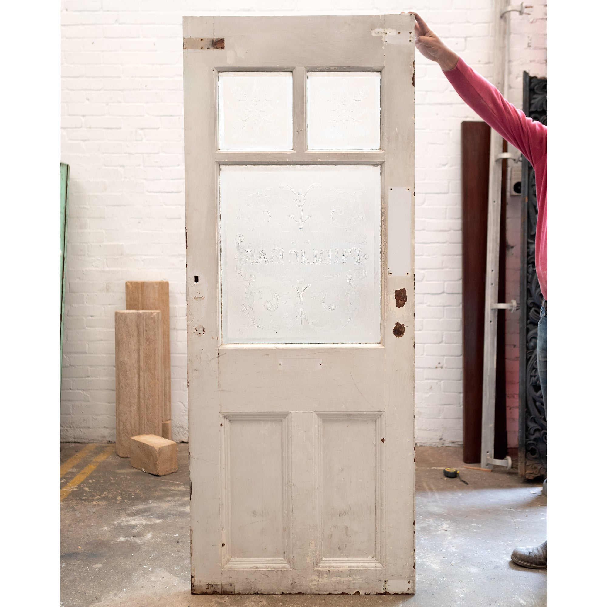 Antique Reclaimed Etched Glass Pub Door 200cm x 78.5cm