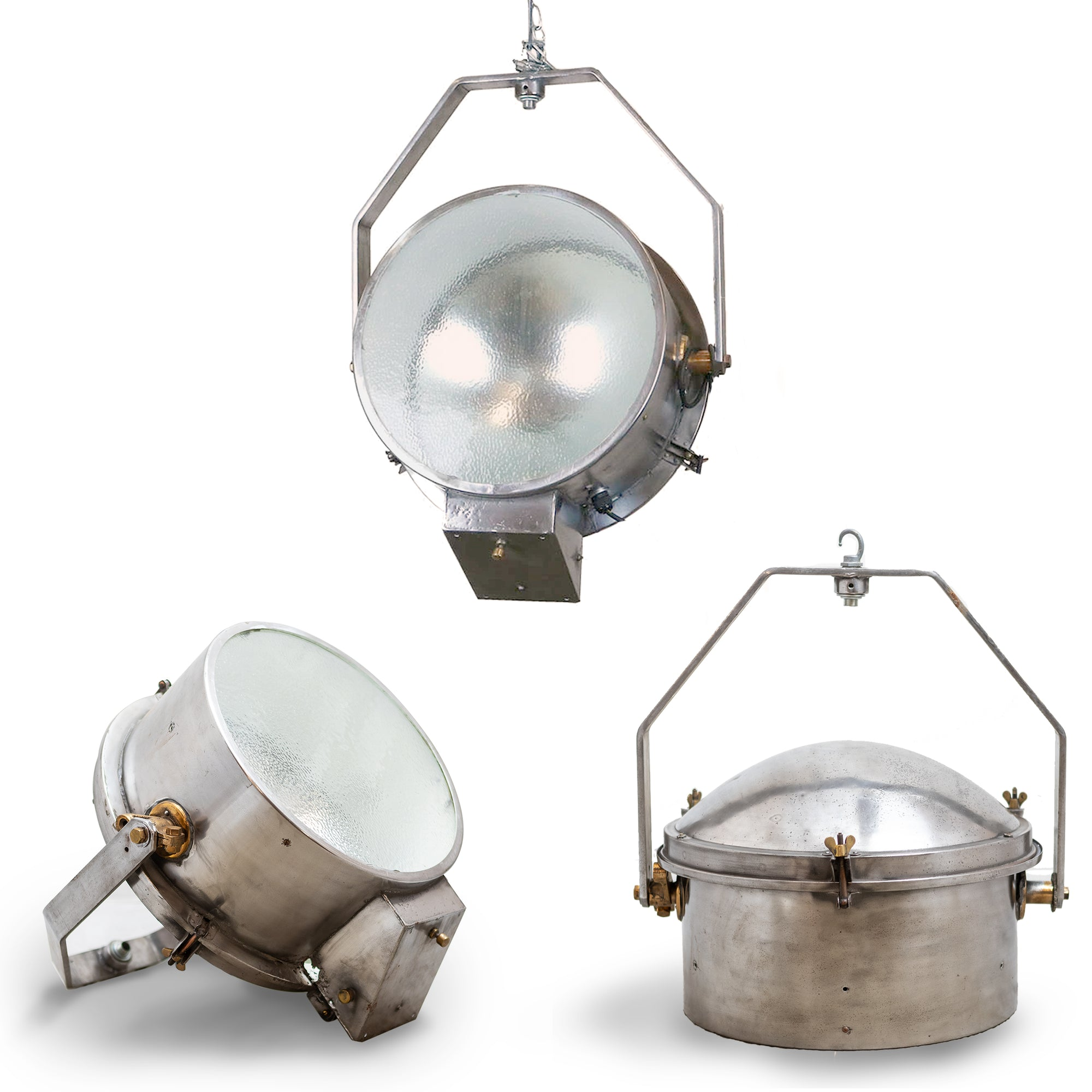 Reclaimed Industrial Polished Steel and Brass Lights | The Architectural Forum