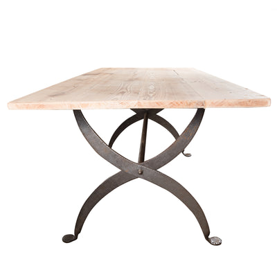 Large Reclaimed Plank Top Table With Wrought Iron Legs - architectural-forum