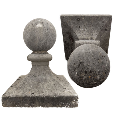 Pair of Reclaimed Stone Ball Top Pier Caps Finials | Post Tops