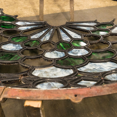 Magnificent Antique Domed Cast Iron Skylight with Stained Glass (3.5m)