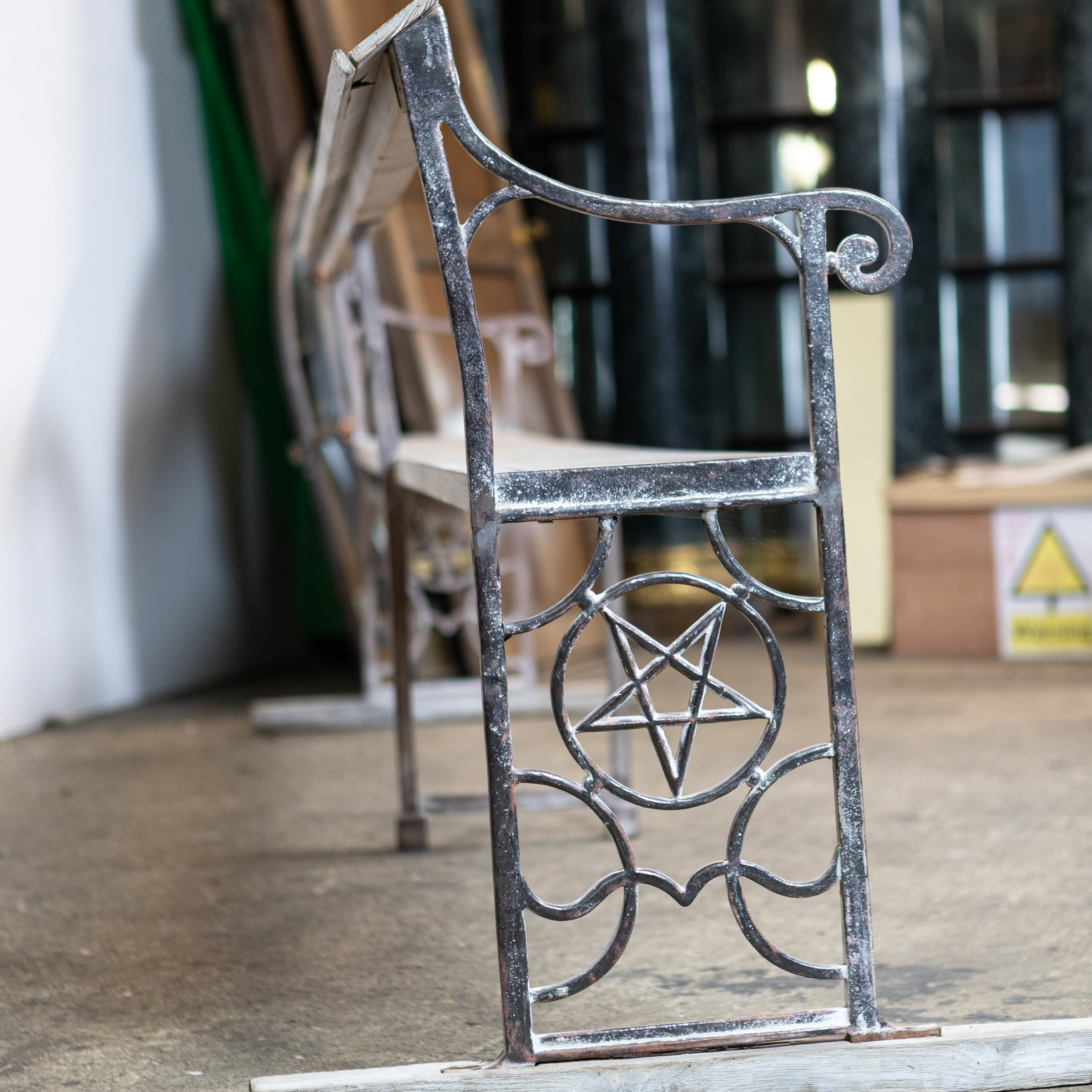 Reclaimed Cast Iron Long Bench with Pentagram