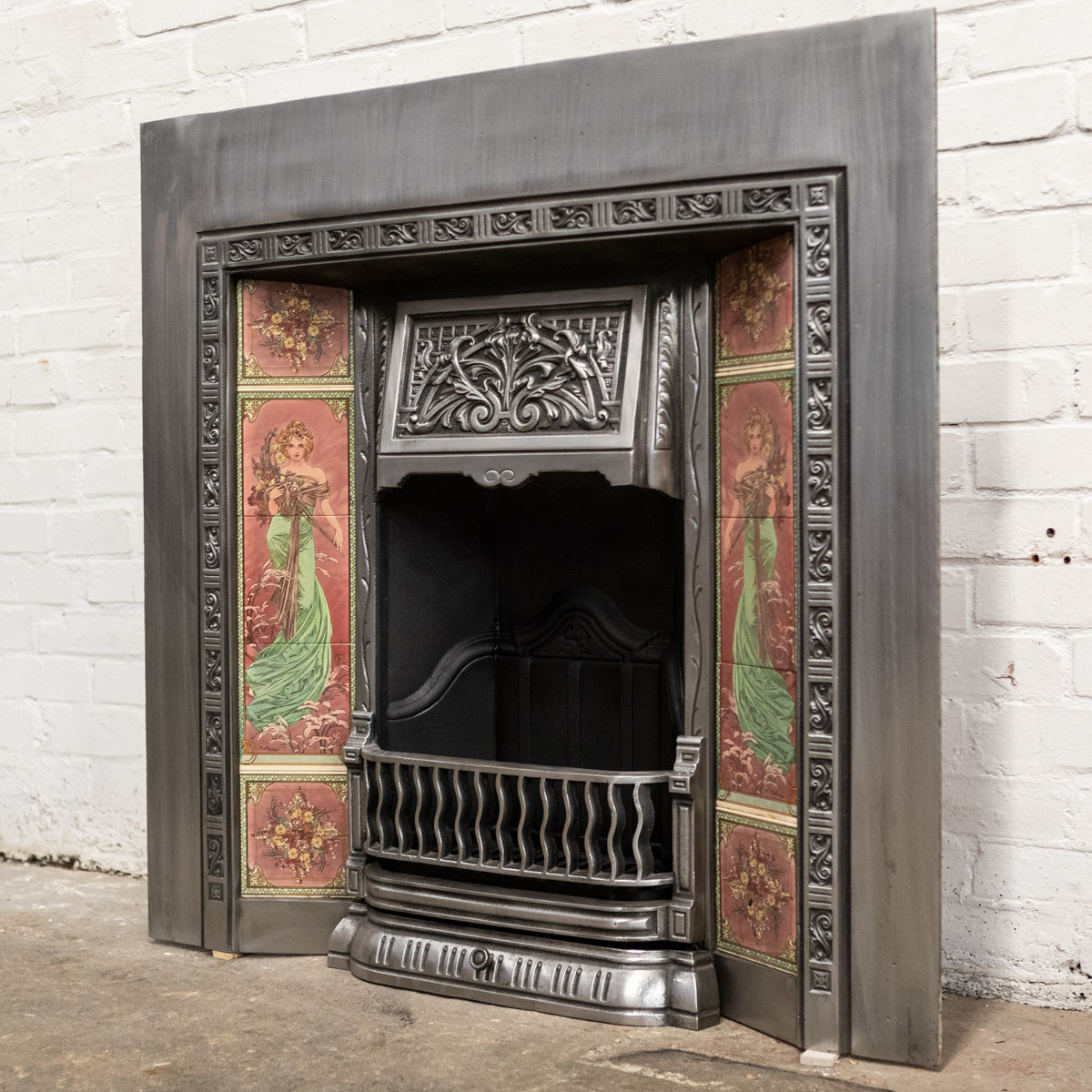Reclaimed Art Nouveau Polished Fireplace Insert with Tiles | The Architectural Forum