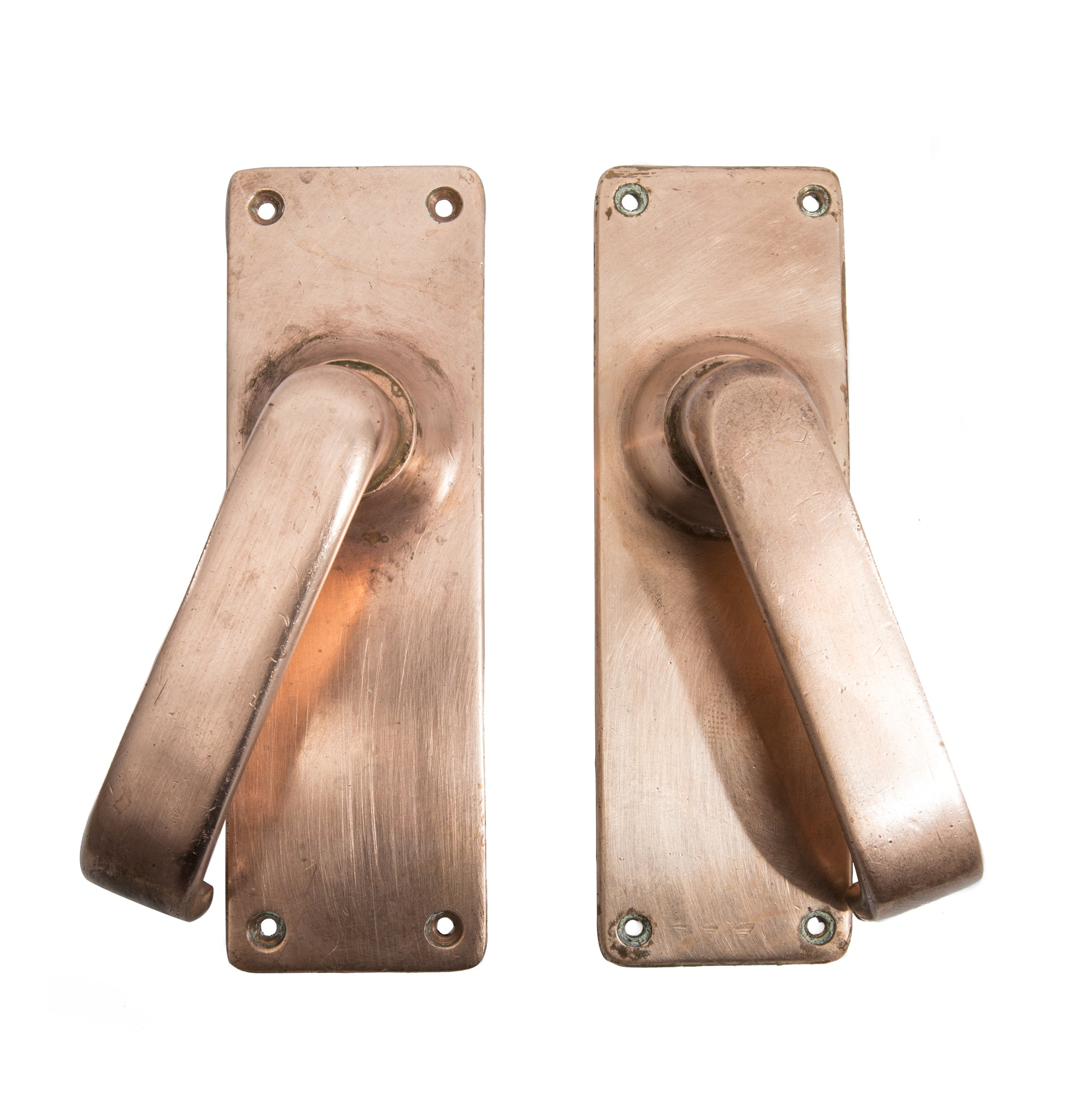 Reclaimed Art Deco Rose Brass Lever Door Handles | The Architectural Forum