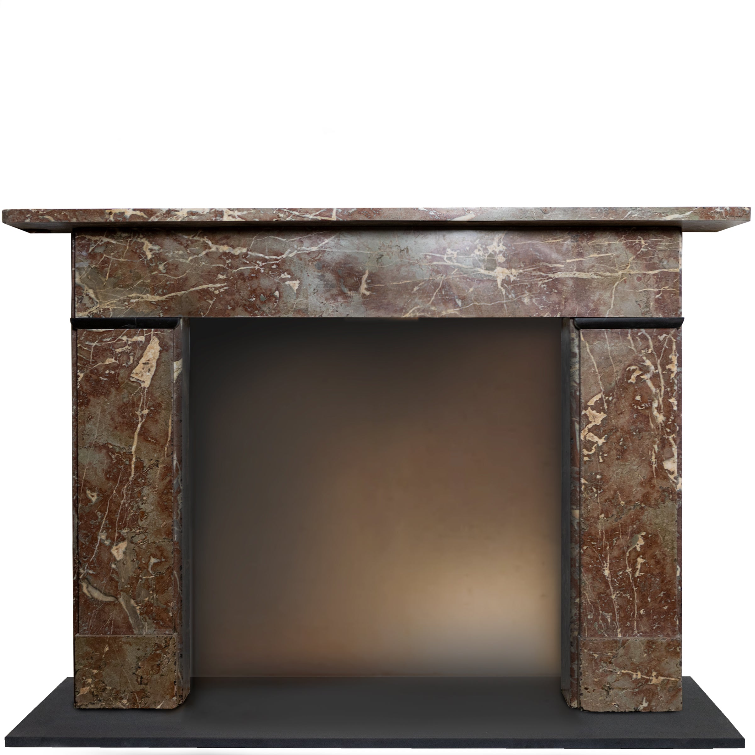 Antique Early Victorian Rouge Royal Red Marble Fireplace Surround