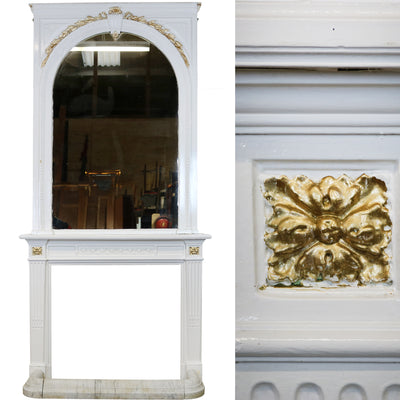 Victorian Wood & Gesso Fireplace Surround, Mirror & Fender