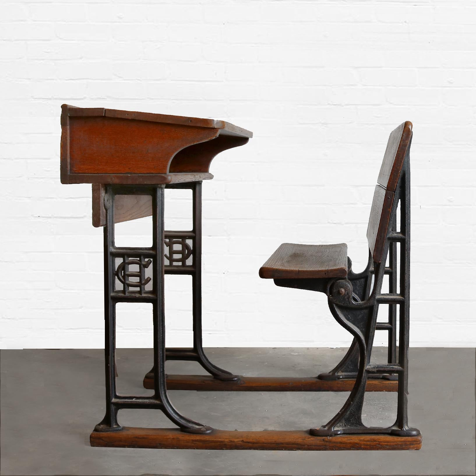 Antique Oak and Cast Iron School Desk - The Architectural Forum
