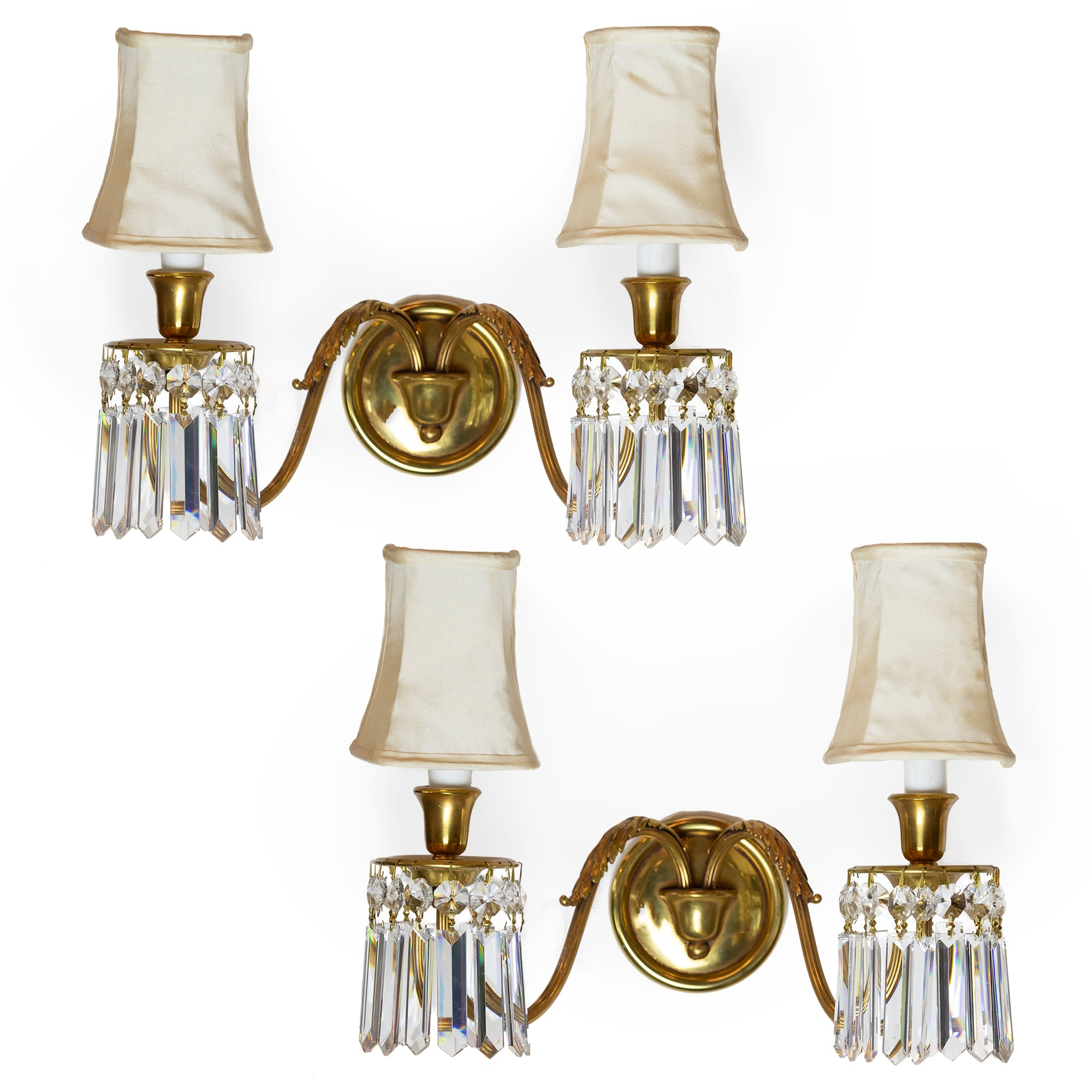 Reclaimed Brass and Crystal Chandelier Wall Light Sconces with Shades
