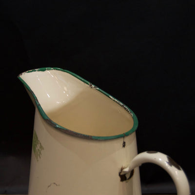 Reclaimed Vintage Cream Enamel Water Jug with Olive Trim - architectural-forum