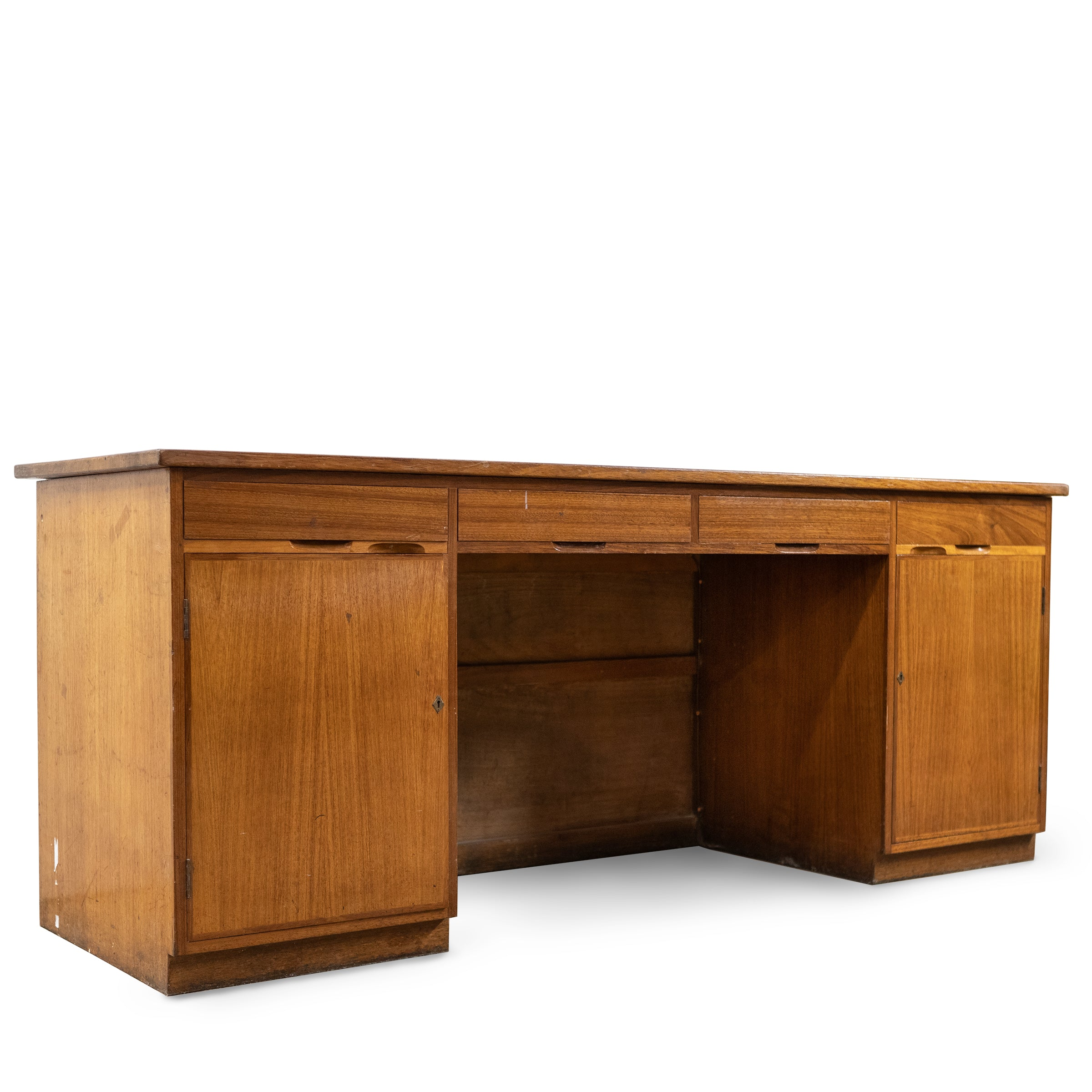Reclaimed Mid-Century Solid Teak Sideboard Desk Unit With Cupboards & Drawers