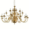 A decorative polished brass chandelier