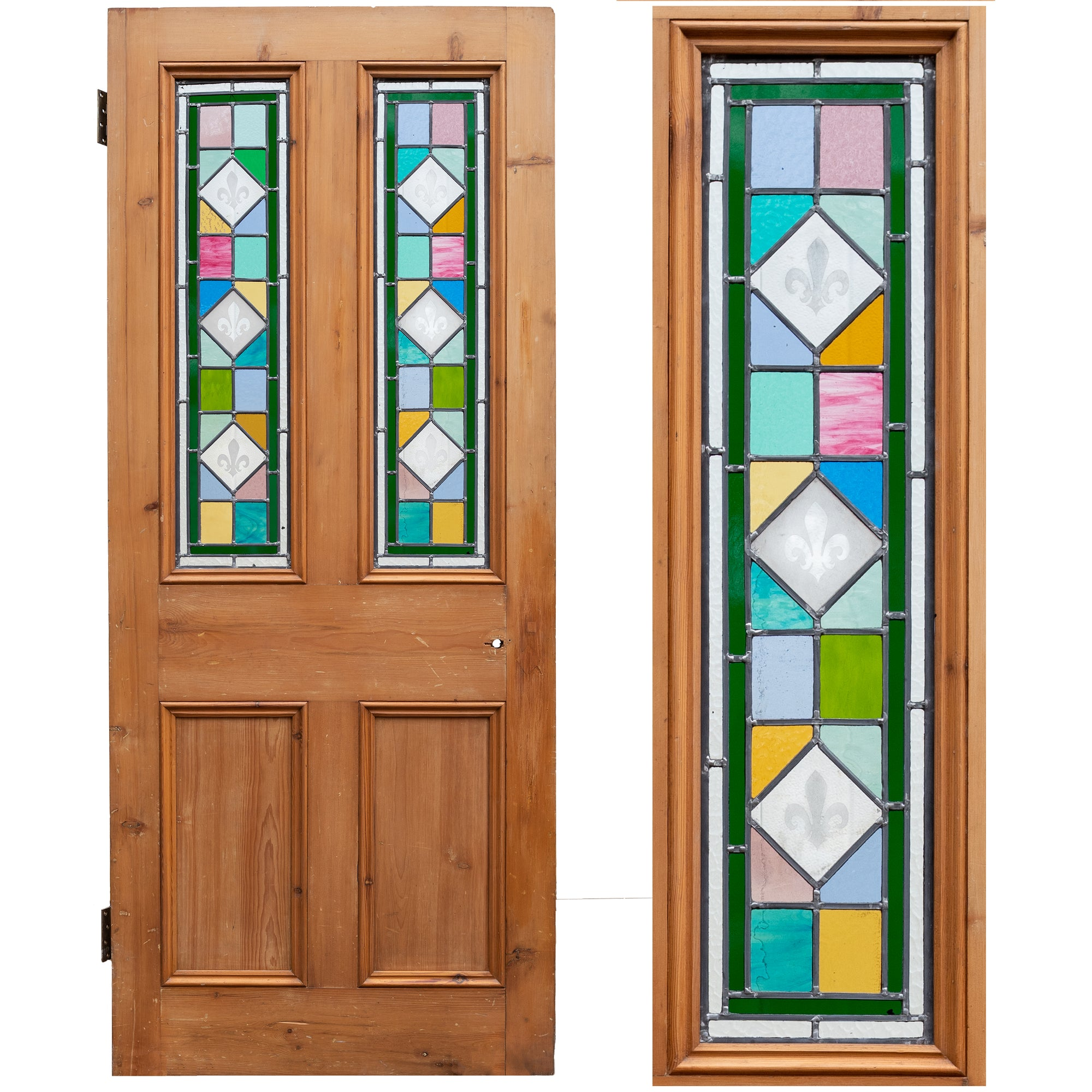 Antique Victorian Stained Glass Door - 203cm x 84cm | The Architectural Forum