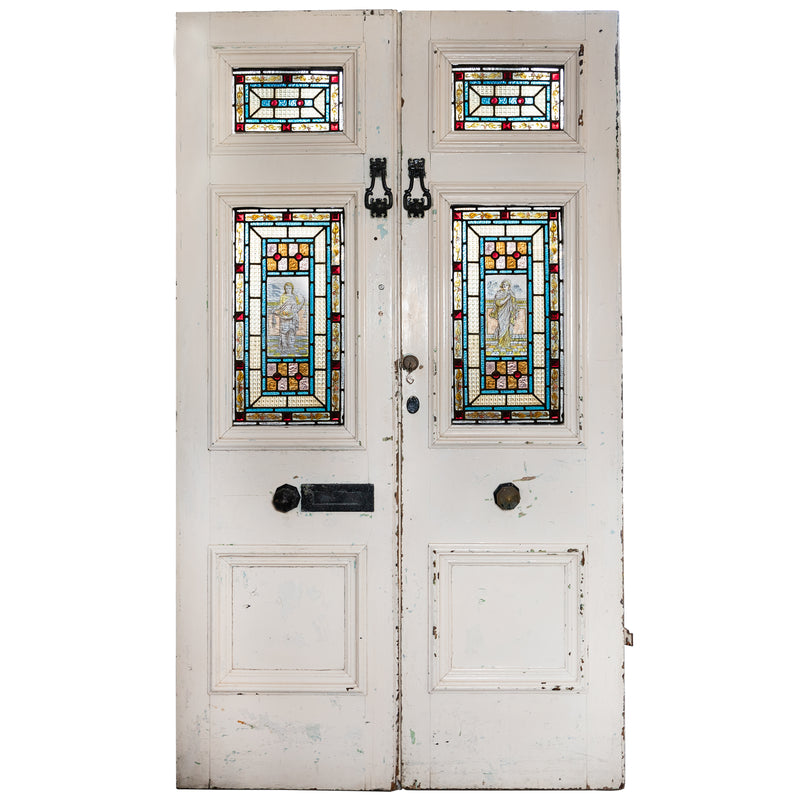 Victorian Stained Glass Double Doors | Peace & Plenty