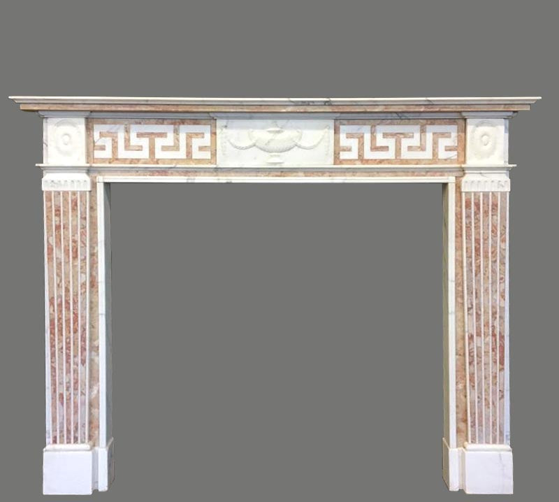 Antique Statuary & Spanish Brocatelle Marble Fireplace Surround - The Architectural Forum