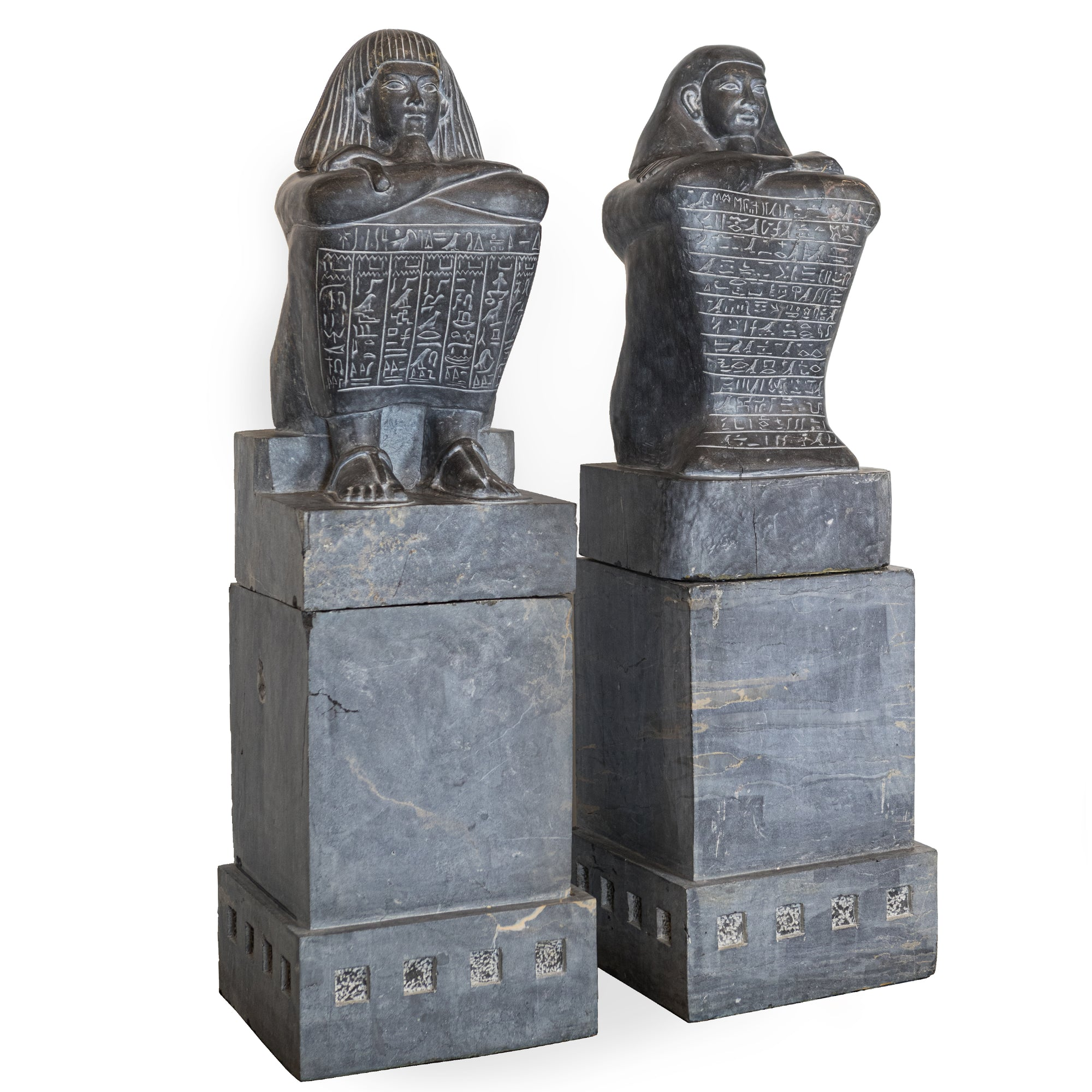 Pair of Monumental Egyptian Marble Block Statues with Plinths