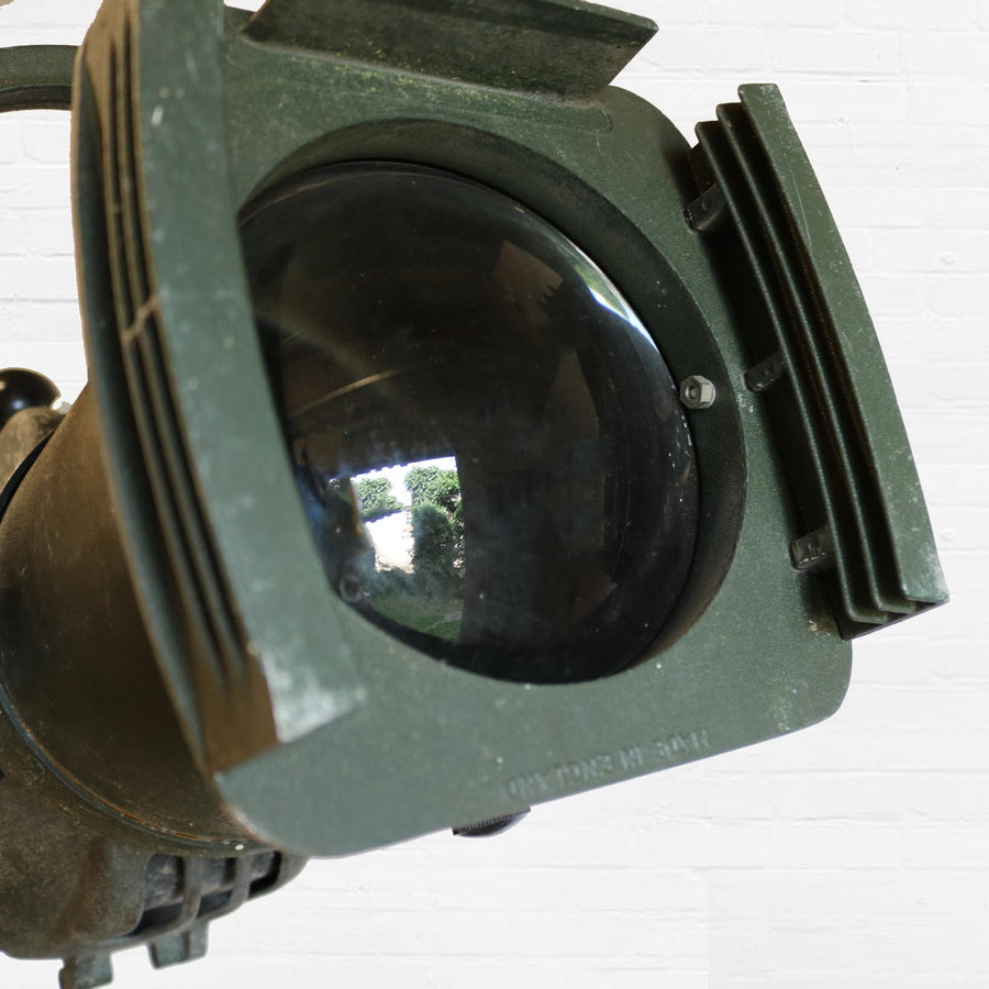 An original Vintage Strand theatre stage light in a forest green finish