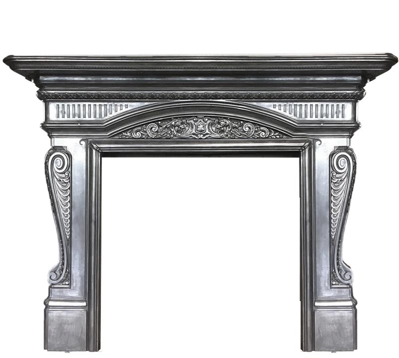 Antique Victorian Polished Cast Iron Fireplace Surround - architectural-forum
