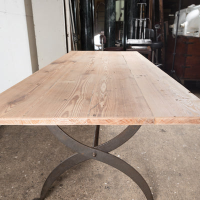 Large Reclaimed Plank Top Table With Wrought Iron Legs