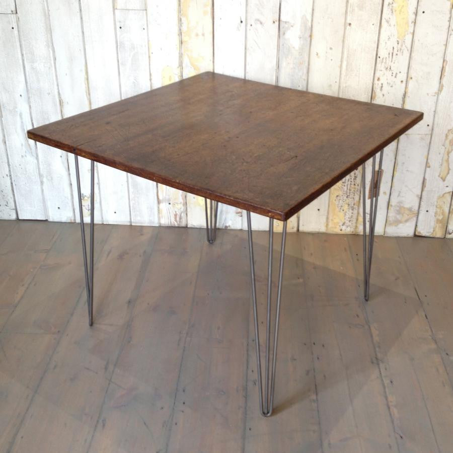 Retro Teak Topped Table with Hairpin Legs
