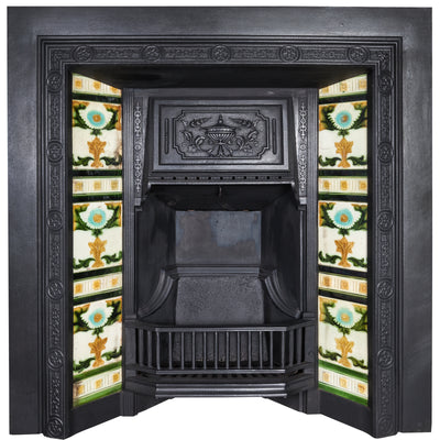 Antique Victorian Cast Iron Tiled Fireplace Insert - The Architectural Forum