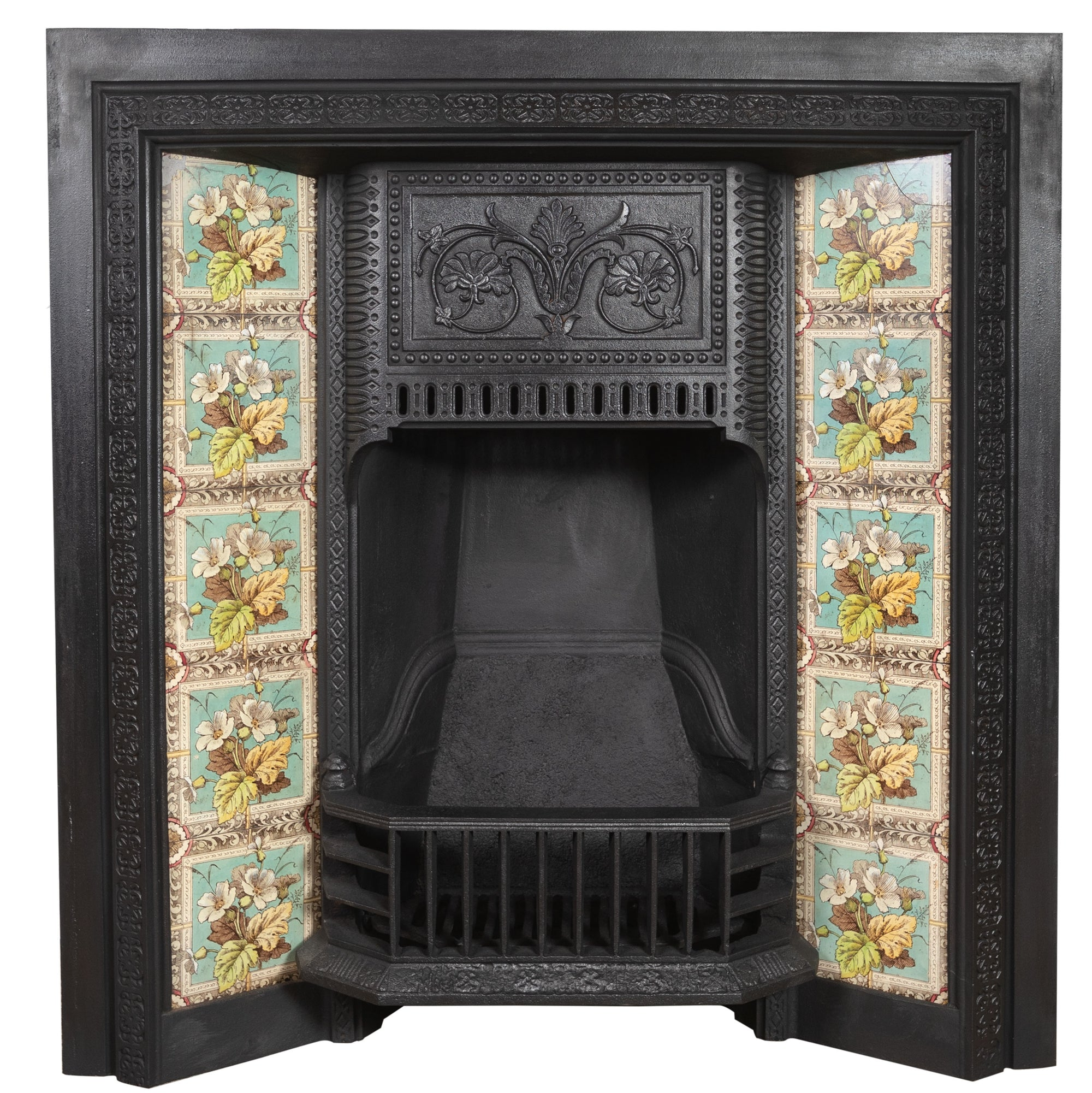 Antique Victorian Tiled Fireplace Insert - The Architectural Forum