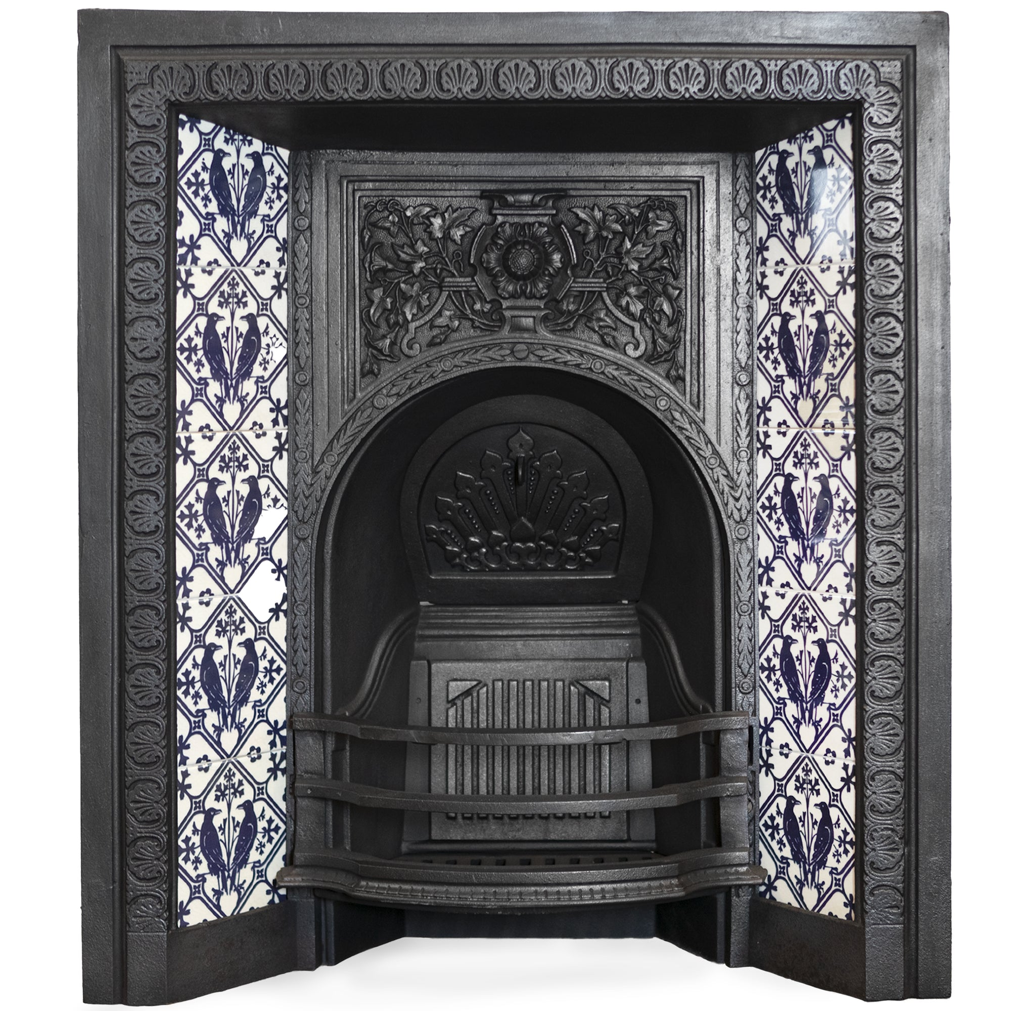 Antique Victorian Cast Iron Fireplace Insert With Raven Tiles | The Architectural Forum
