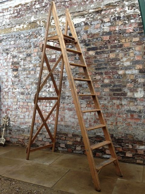 Vintage wooden platform ladder