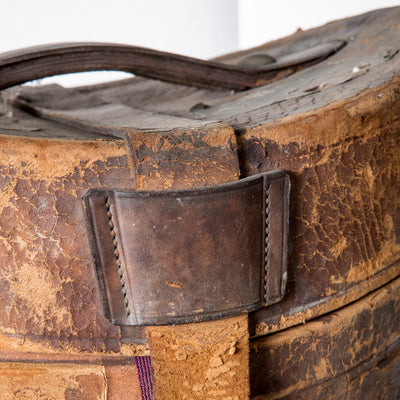 Antique Top Hat with Leather Hat Box - architectural-forum