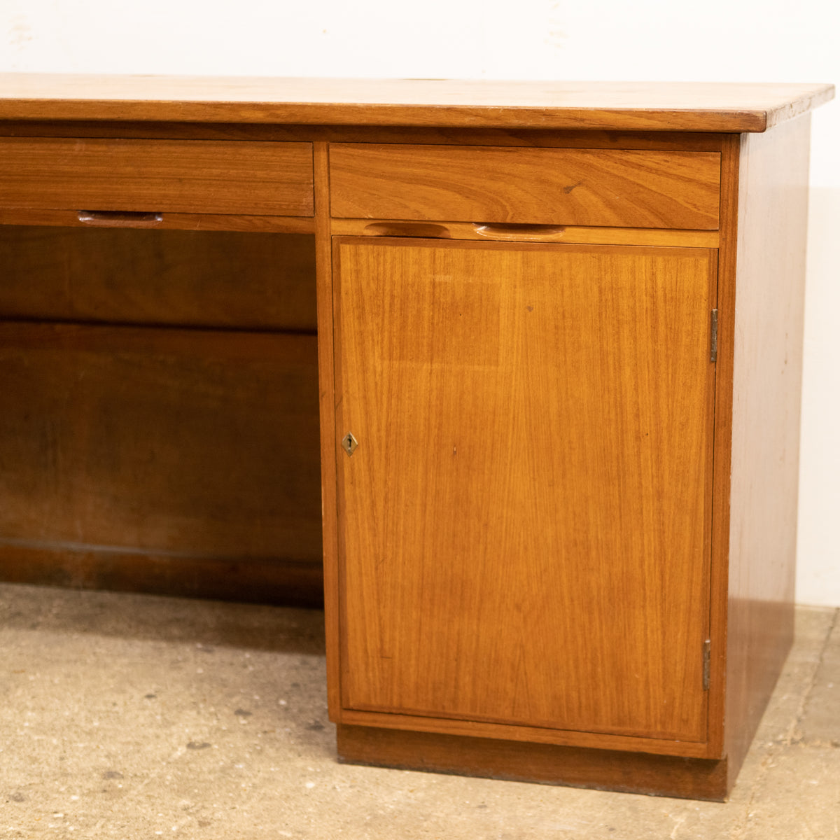 Reclaimed Mid-Century Solid Teak Sideboard Desk Unit With Cupboards & Drawers | The Architectural Forum