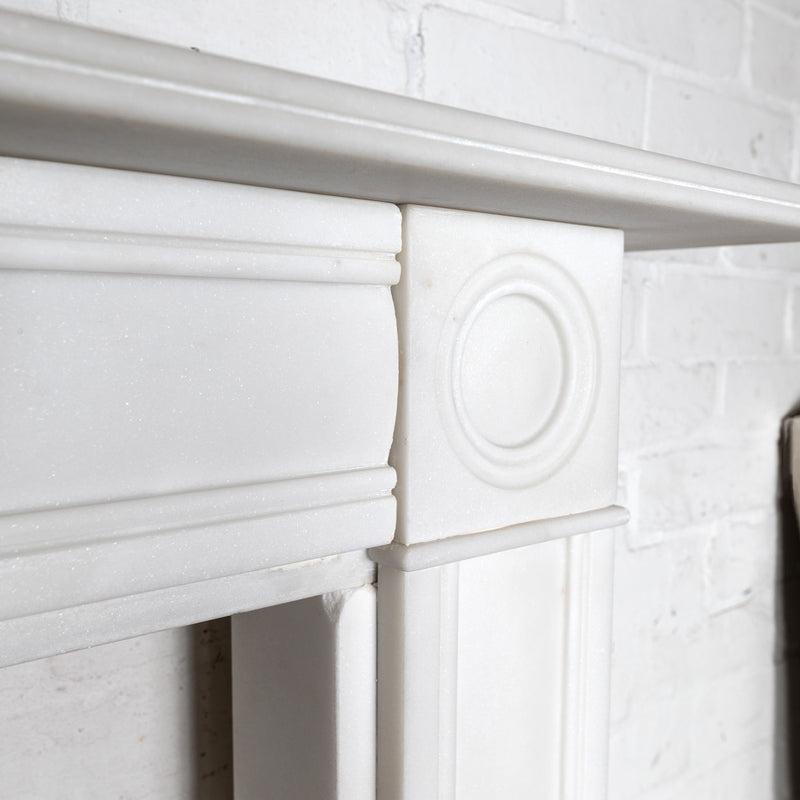 Georgian Style White Statutory Marble Bullseye Fireplace Surround - The Architectural Forum