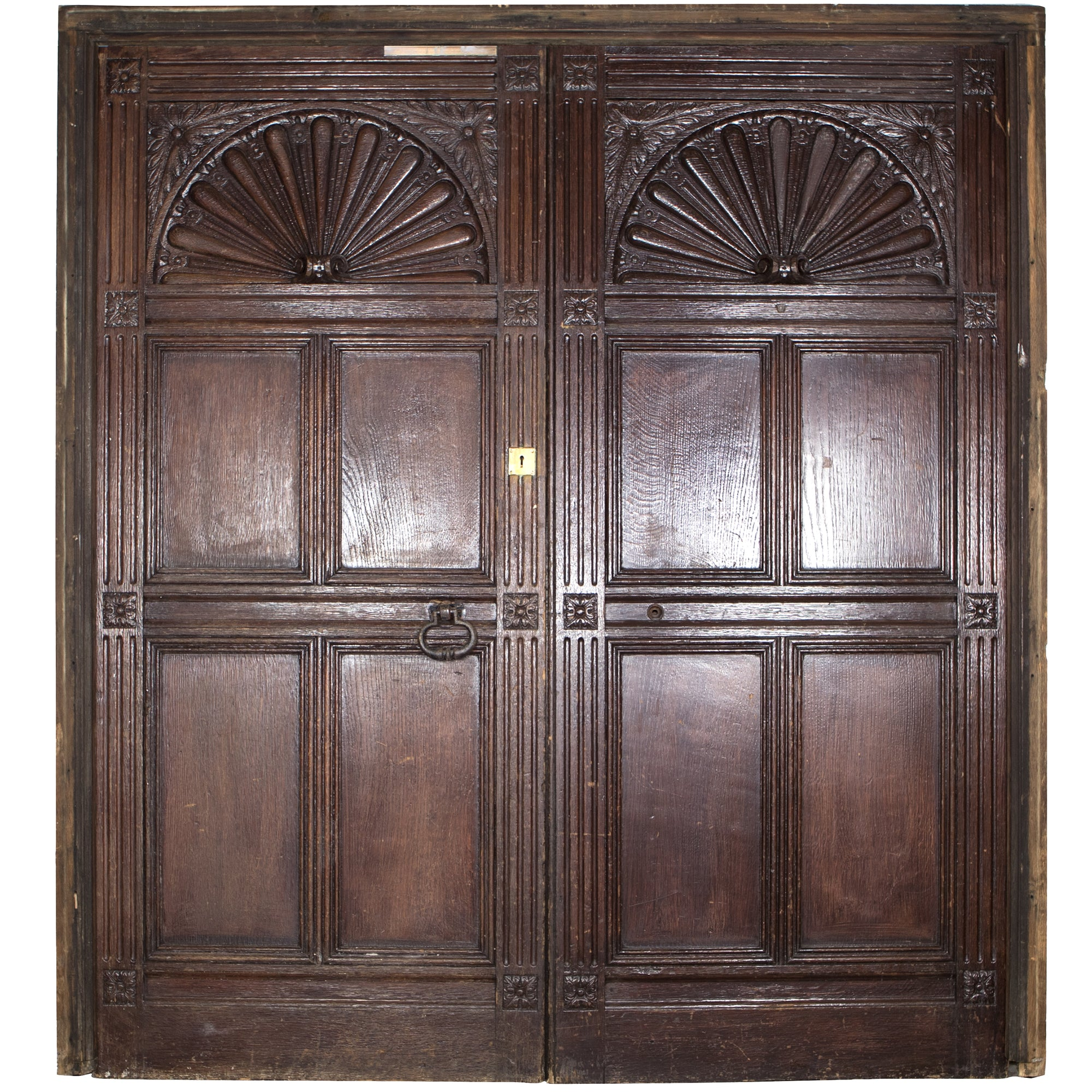 Reclaimed Carved Wooden Tudor Style Double Doors with Frame