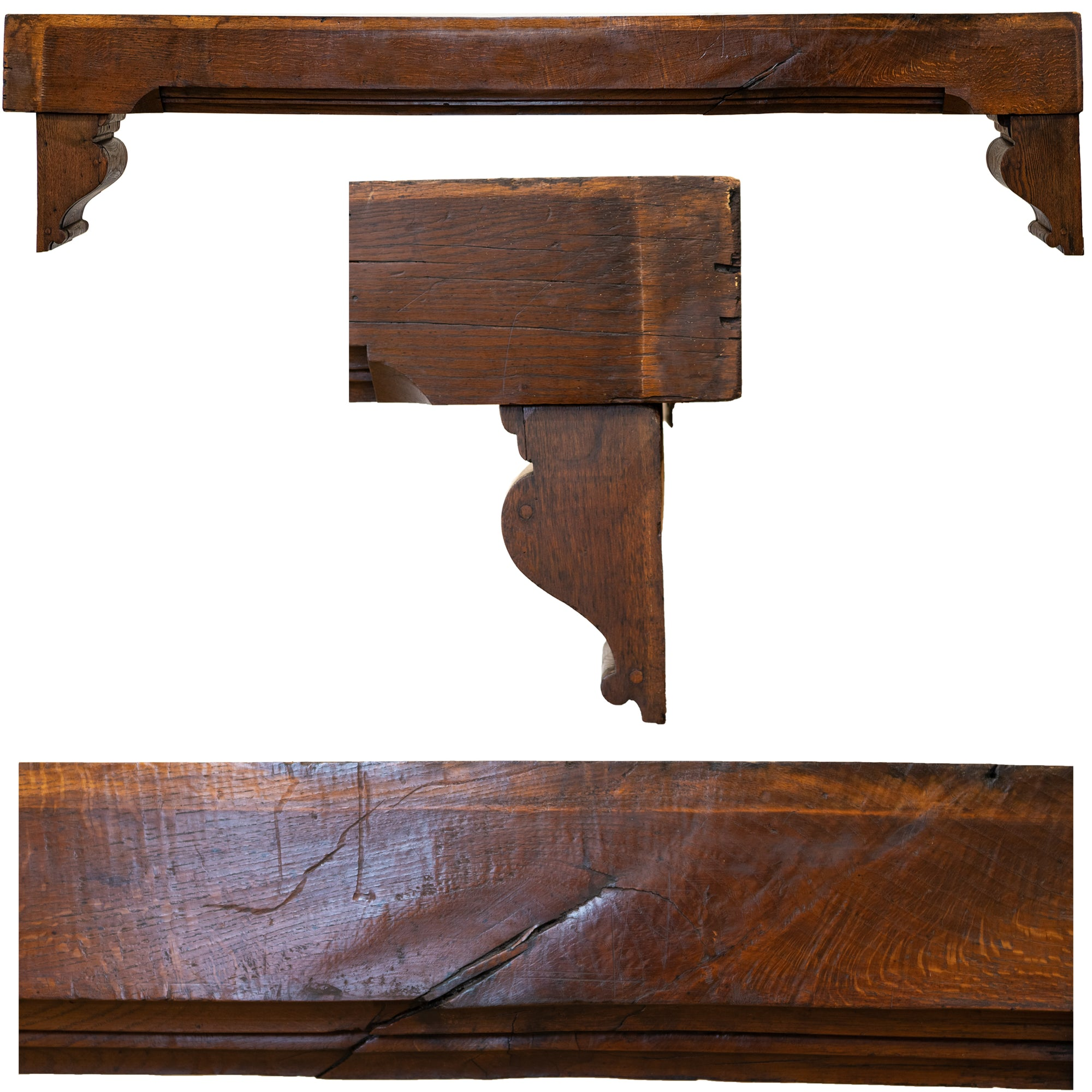 Antique Oak Decorative Beam Pediment with Corbels Inglenook Opening | The Architectural Forum