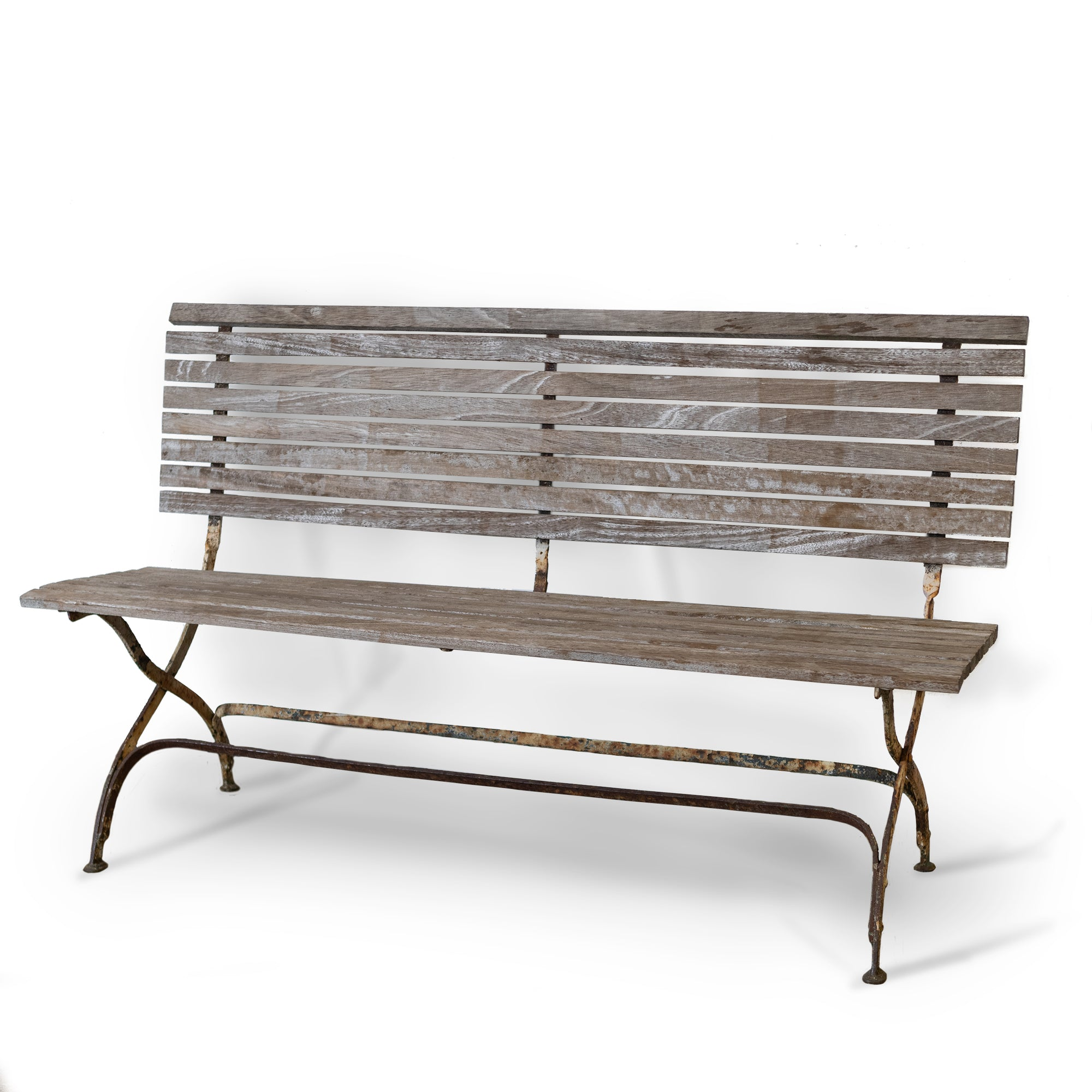 Antique Reclaimed Teak Bench with Iron Legs | The Architectural Forum