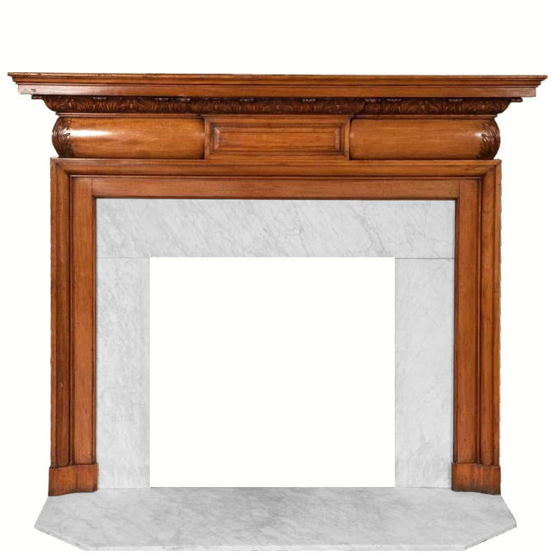 Antique Mahogany and Carrara Marble Fireplace Surround - The Architectural Forum