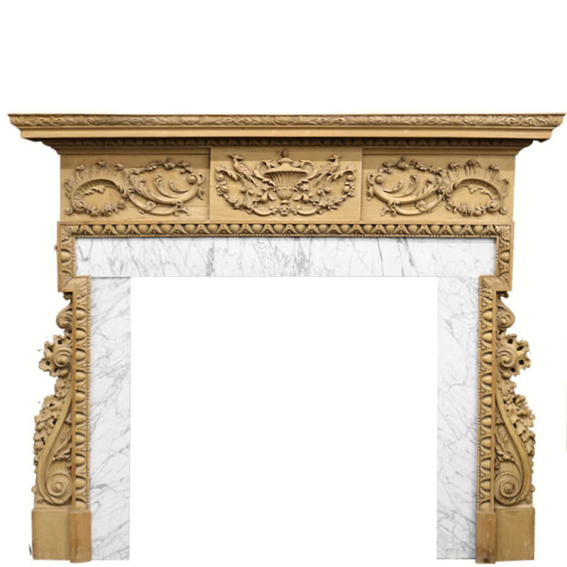 Antique Georgian Carved Pine Fireplace Surround - architectural-forum