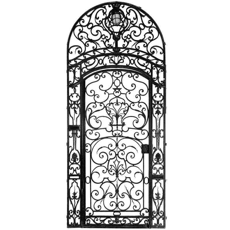 Large Ornate Mid 19th Century Wrought Iron Gate with Light