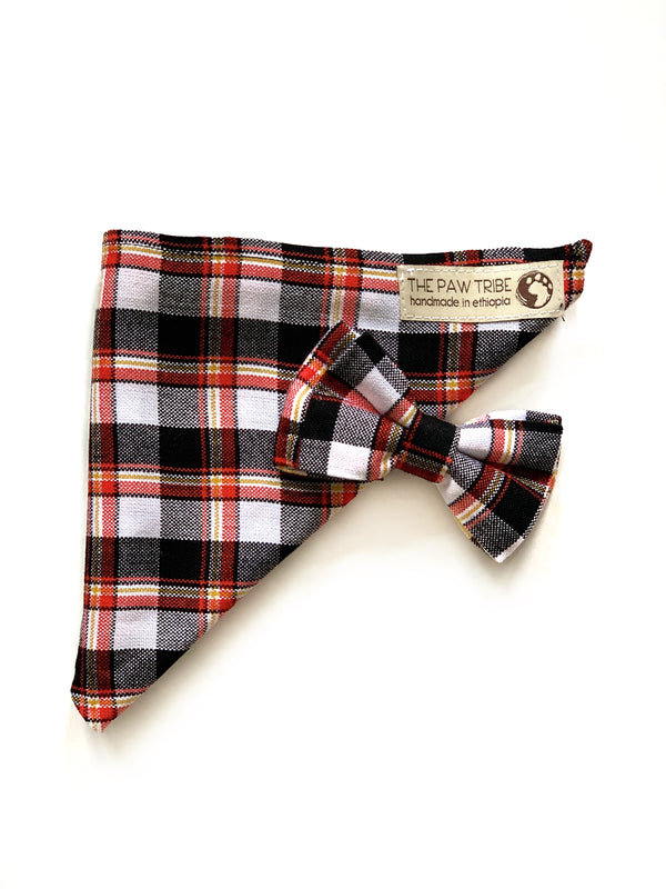 HAPPY PAWS SET - SMOKY S'MORES PLAID BANDANA & BOW TIE