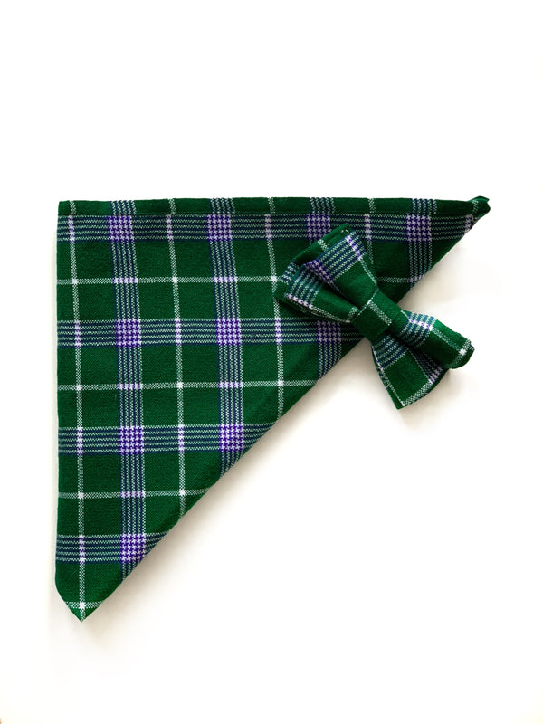 HAPPY PAWS SET - EVERGREEN PLAID BANDANA & BOW TIE