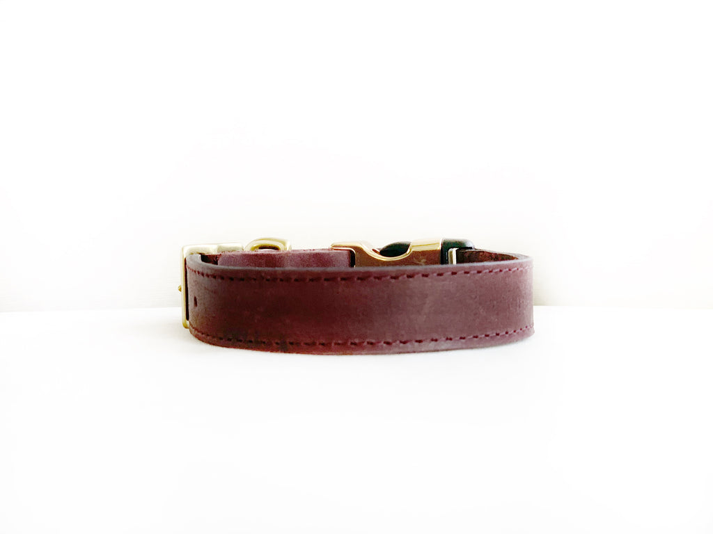BORDEAUX LEATHER STYLE-RELEASE COLLAR™