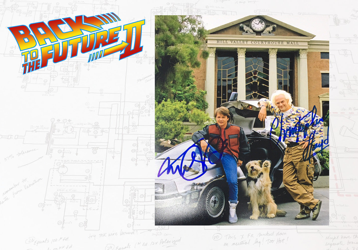 Double Signed Michael J Fox and Christopher Lloyd BTTF 2