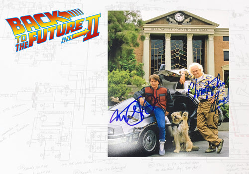 Back to the Future Double Signed Michael J Fox and Christopher Lloyd BTTF 2