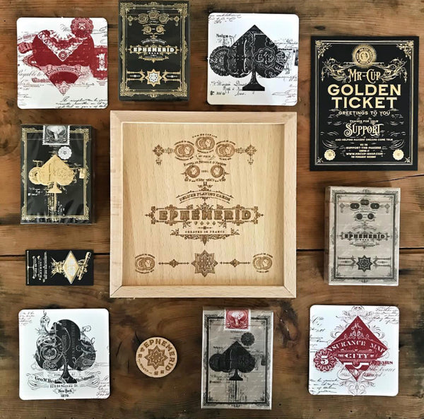 EPHEMERID PLAYING CARDS - WOOD BOX Limited edition - MR CUP
