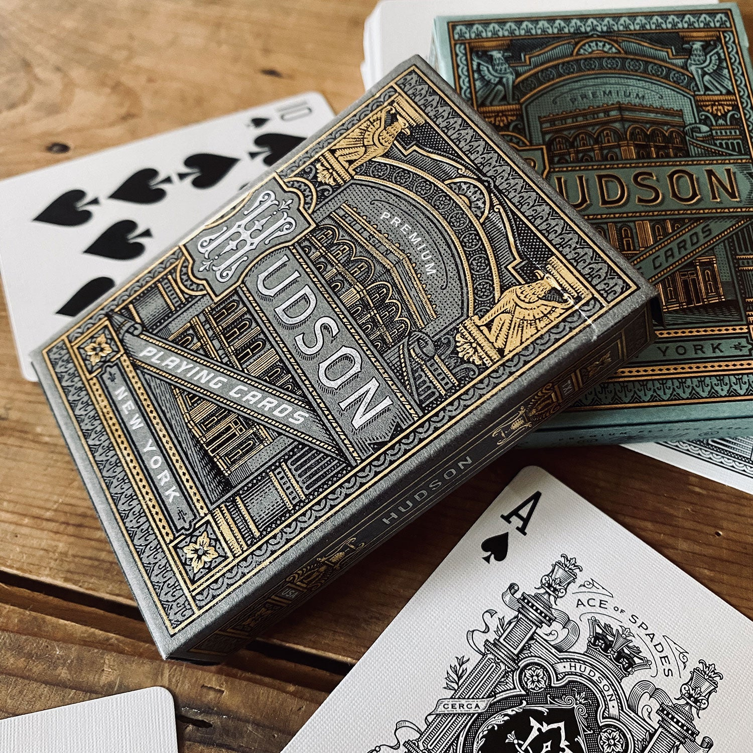 HUDSON GREEN & BLACK - 2 Playing Cards Decks set