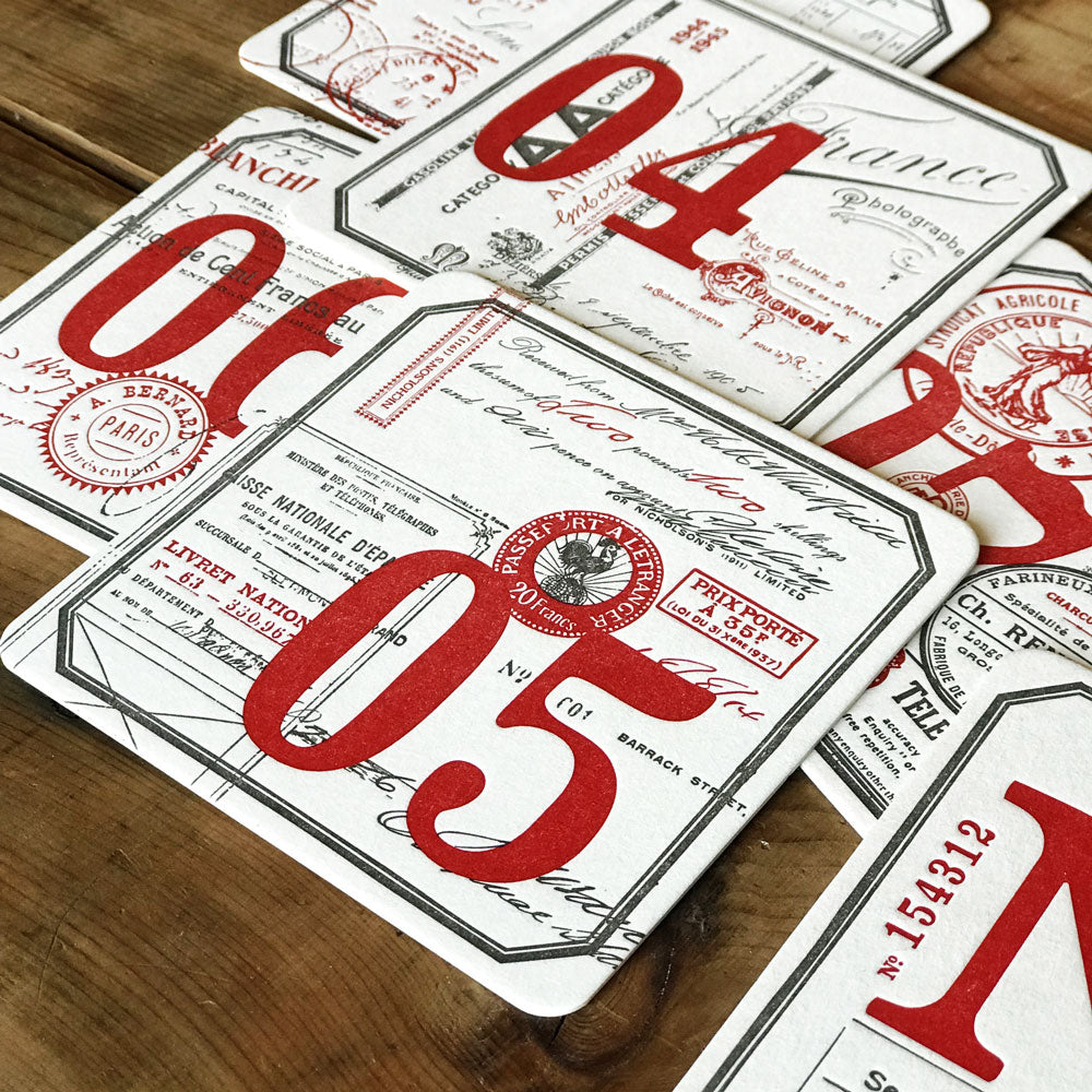 8 Letterpress coasters N° / 1 / 2 / 3 / 4 / 5 / 6 / 7 - MR CUP