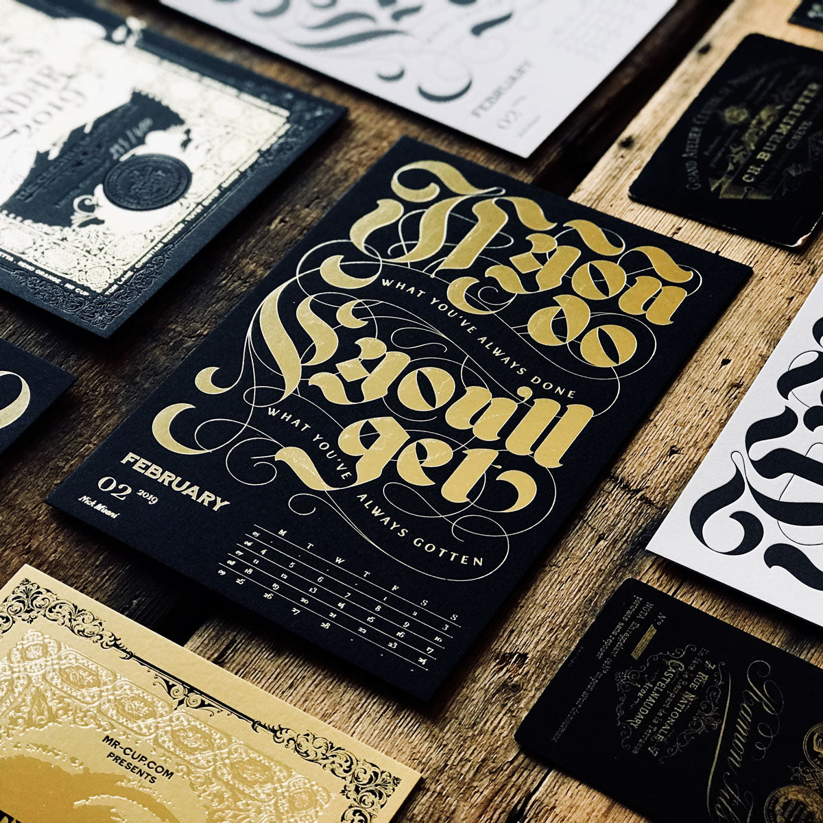 2019 letterpress calendar Artist's proof 02 - hot foil - MR CUP