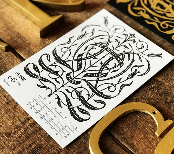 2019 letterpress calendar Artist's proof 06 - MR CUP